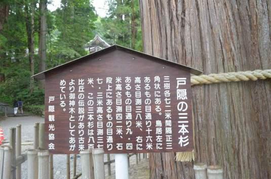 Three Cedars of Togakushi Sign